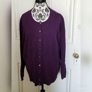 Dark Purple Button Down Cardigan